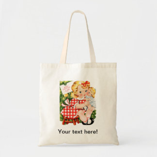 Cute vintage little girl with a doll tote bag