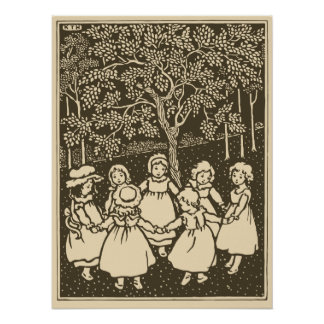Cute vintage little girls dancing jingo ring poster