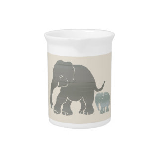 Cute Vintage Natural Colors Elephant with Baby Beverage Pitcher