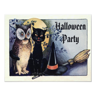 Cute Vintage Owl and Cat Halloween Party Card