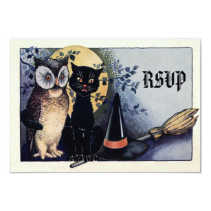 Cute Vintage Owl And Cat Halloween RSVP Card