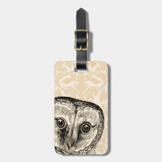Cute Vintage Owl in Black on Tan Damask Luggage Tag