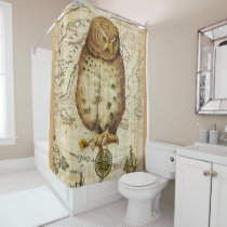 Cute Vintage Owl Shower Curtain