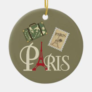 Cute Vintage Paris Luggage Stamp and Eiffel Tower Ceramic Ornament