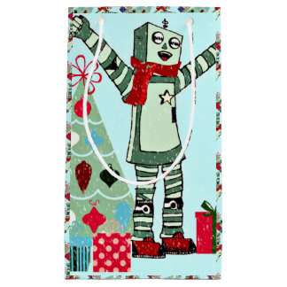 Cute Vintage Pastel Holiday Robot Boy & Tree Small Gift Bag