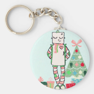 Cute Vintage Pastel Holiday Robot & Tree Keychain