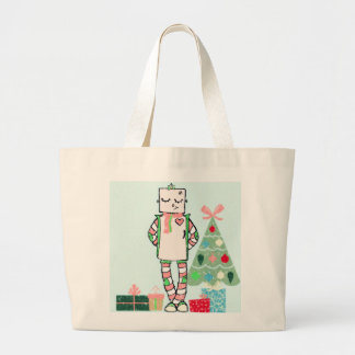 Cute Vintage Pastel Holiday Robot & Tree Large Tote Bag