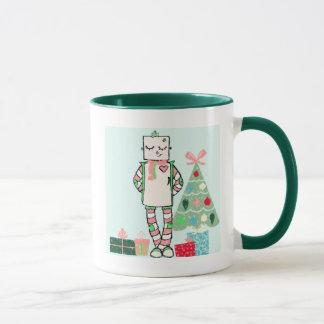 Cute Vintage Pastel Holiday Robot & Tree Mug