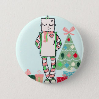 Cute Vintage Pastel Holiday Robot & Tree Pinback Button