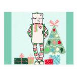 Cute Vintage Pastel Holiday Robot & Tree Postcard