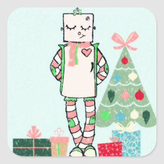 Cute Vintage Pastel Holiday Robot & Tree Square Sticker