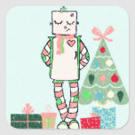 Cute Vintage Pastel Holiday Robot & Tree Stickers