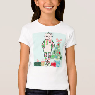 Cute Vintage Pastel Holiday Robot & Tree T-Shirt