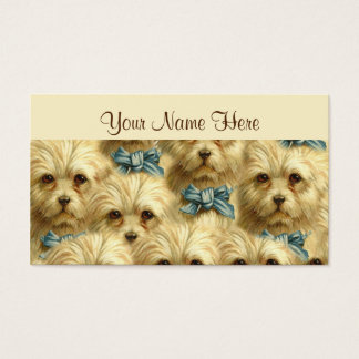 Cute Vintage Pedigree Dog Terrier Portrait Collage Business Card