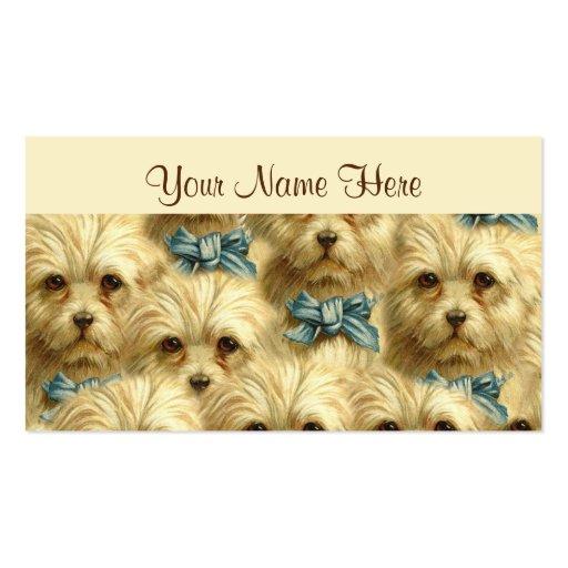 Cute Vintage Pedigree Dog Terrier Portrait Collage Business Card Templates