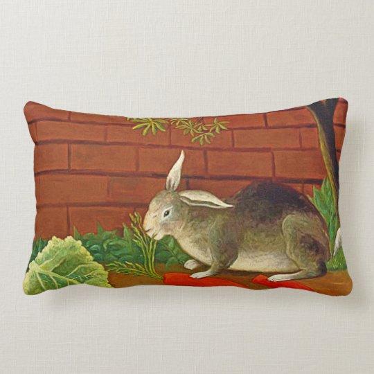 Cute vintage Pet Bunny Rabbit Painting Lumbar Pillow