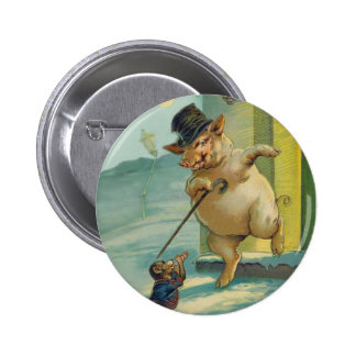 Cute Vintage Pig and Monkey - Funny Animals 2 Inch Round Button