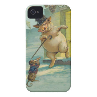 Cute Vintage Pig and Monkey - Funny Animals iPhone 4 Covers