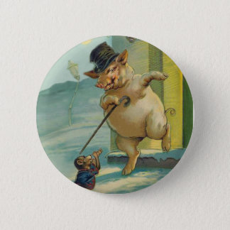 Cute Vintage Pig and Monkey - Funny Animals Pinback Button