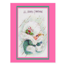 Cute Vintage Pink and Green Christmas Greetings Postcard