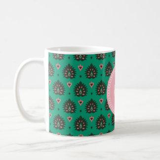 Cute vintage pink green girly ikat tribal pattern coffee mug