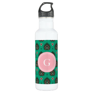 Cute vintage pink green girly ikat tribal pattern stainless steel water bottle