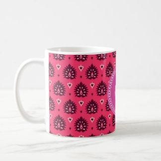 Cute vintage pink red girly ikat tribal pattern coffee mug
