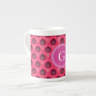 Cute vintage pink red girly ikat tribal pattern tea cup