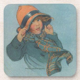 Cute Vintage Poster Girl In The Rain Drink Coaster