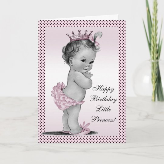 Cute Vintage Princess 1st Birthday Card Zazzle