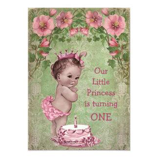 Cute Vintage Princess 1st Birthday Party 5x7 Paper Invitation Card