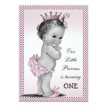 Cute Vintage Princess 1st Birthday Party 5x7 Paper Invitation Card
