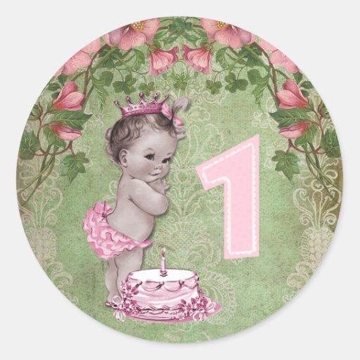 Cute Vintage Princess 1st Birthday Party Round Sticker