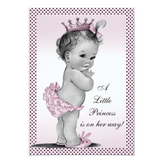 Cute Vintage Princess Baby Shower 5x7 Paper Invitation Card