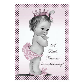 Cute Vintage Princess Baby Shower 5x7 Paper Invitation Card