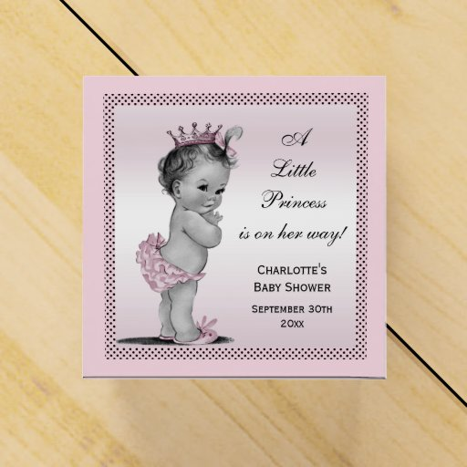 Vintage Baby Shower Thank You Cards: Cute Vintage Princess Baby Shower Thank You Favor Box