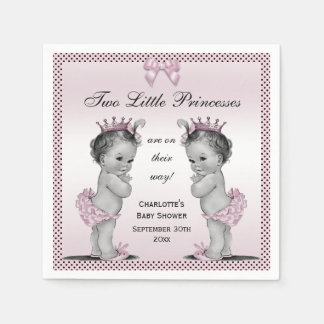 Cute Vintage Princess Twins Baby Shower Napkin