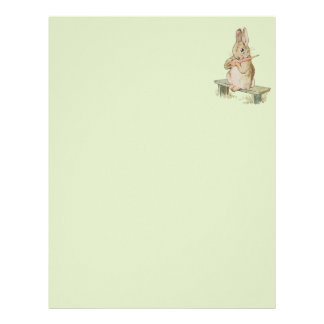 CUTE VINTAGE RABBIT WITH CARROT,  BUNNY NOTES LETTERHEAD