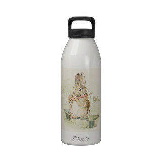 CUTE VINTAGE RABBIT WITH CARROT,  BUNNY DRINKING BOTTLES