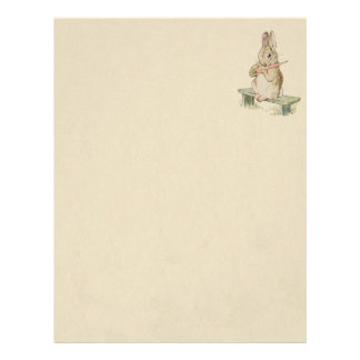 CUTE VINTAGE RABBIT WITH CARROT, SEPIA BUNNY NOTES LETTERHEAD