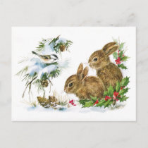 Cute Vintage Rabbits Christmas Scene Holiday Postcard