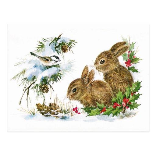 Cute Vintage Rabbits Christmas Scene Postcard