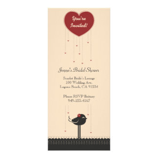 Cute Vintage Red & Black Love Bird Announcement