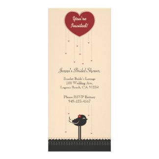 Cute Vintage Red Black Love Bird Announcement
