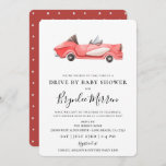 Cute Vintage Red Racecar Drive By Baby Shower Invitation
