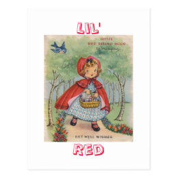 Cute Vintage Red Riding Hood Postcard