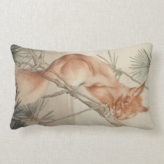 Cute Vintage Red Squirrel in Tree Detailed drawing Pillow