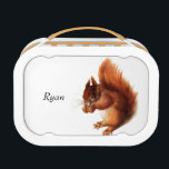 """Cute Vintage Red Squirrel Personalized Lunch Box<br><div class=""""desc"""">Cute vintage red squirrel eating a nut personalized lunch box.</div>"""