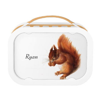 Cute Vintage Red Squirrel Personalized Lunch Box