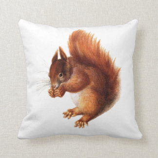 Cute Vintage Red Squirrel Throw Pillow